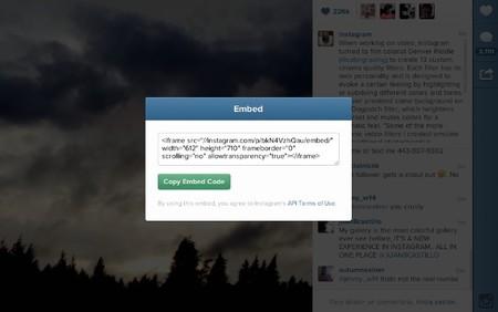 Instagram añade la opción de insertar fotos y vídeos en la web