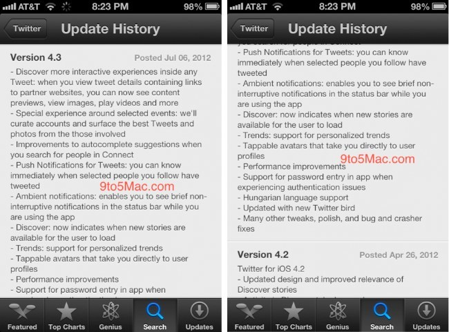 twitter iphone actualizacion ios 4.3