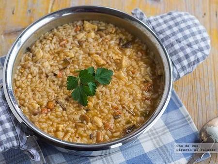 Receta de risotto variado con morcilla
