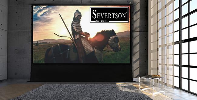 Esta pantalla para cine en casa de Severtson se esconde bajo el suelo del salón