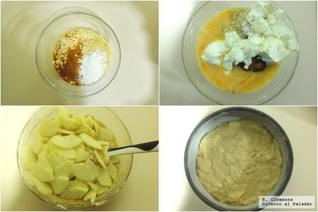 paso a paso bizcocho copos avena manzana queso crema