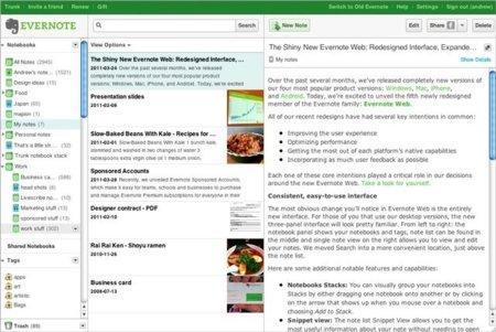 Evernote renueva por completo la interfaz de su aplicación web