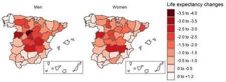 Evolución de la esperanza de vida en las provincias españolas en 2020 respecto a 2017-19.