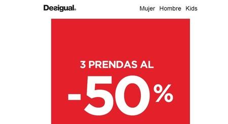 Promo de Desigual: si compras tres prendas te aplican un descuento final del 50%