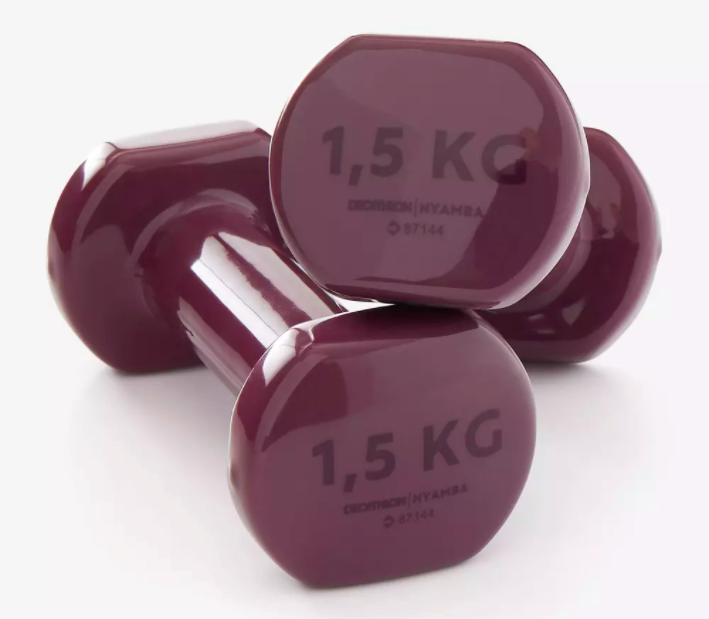 Mancuernas vinilo 2 x 1,5kg fitness gym pilates Nyamba