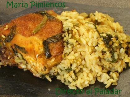 Receta de arroz seco con espinacas
