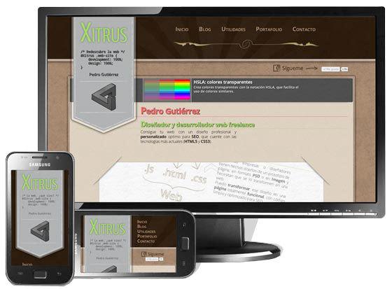 Ejemplo de responsive design de xitrus.es