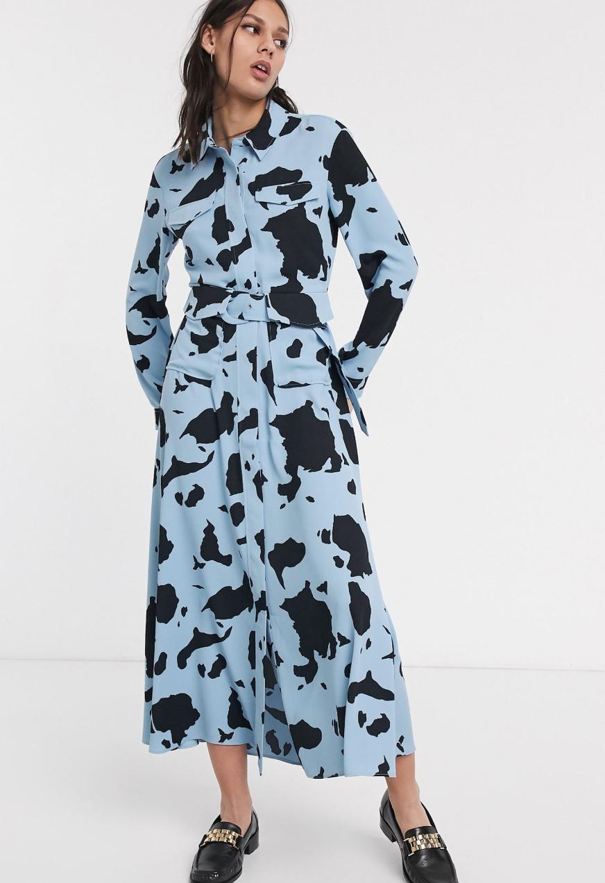 Vestido midi utilitario con estampado animal de parches Limited de Whistles
