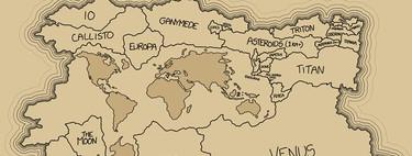Toda la superficie terrestre del Sistema Solar, comparada con la de la Tierra en un mapa