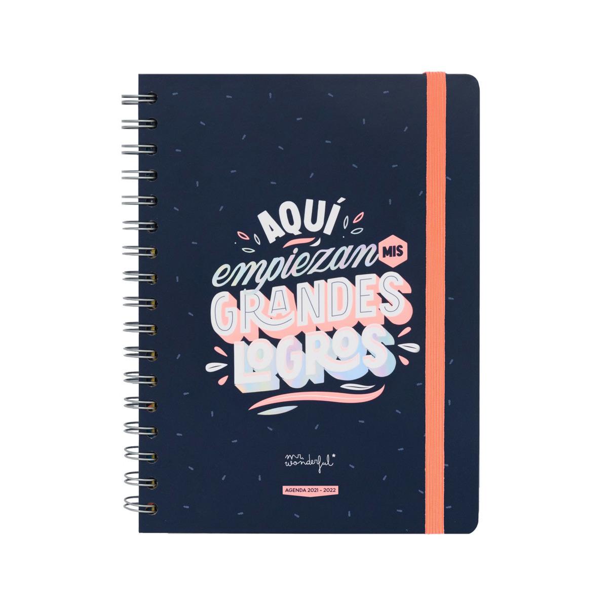 Agenda Escolar con Mensaje y Diseño Mr. Wonderful: Aquí empiezan mis grandes logros