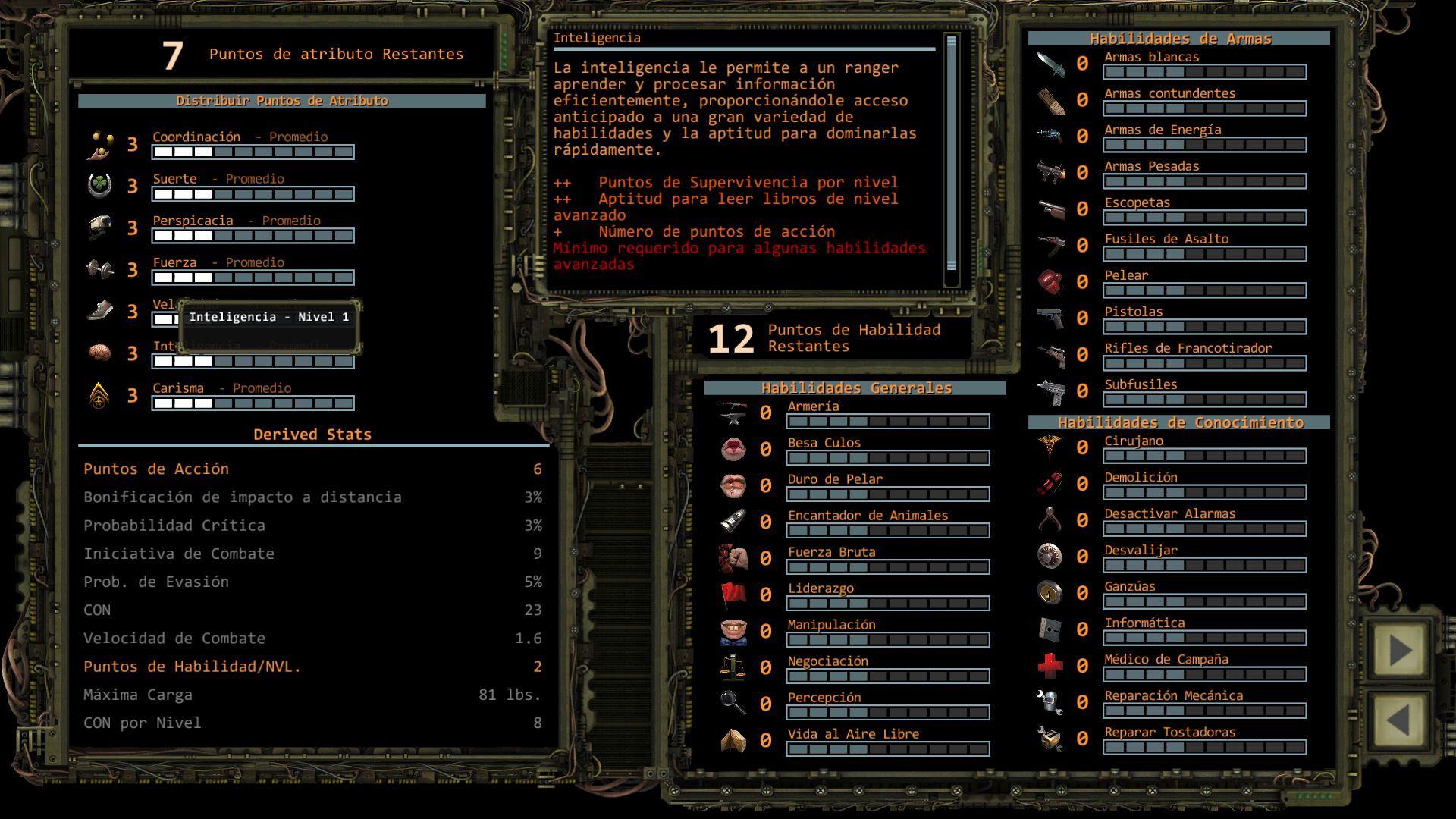 Foto de Distribución de puntos de Atributo en Wasteland 2 (8/11)