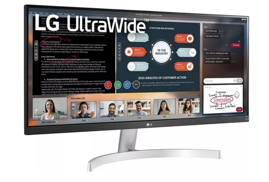 "Monitor - LG UltraWide 29WN600-W, 29"" WFHD, 5 ms, 75 Hz, DisplayPort, HDMI, FreeSync, Plata"
