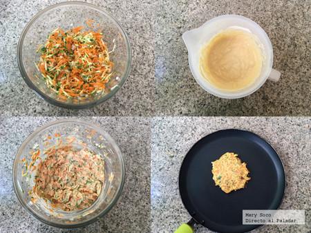 Tortitas de  Zanahoria y calabacita. Pasos
