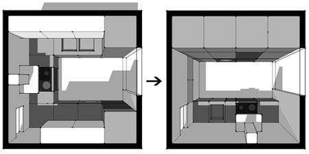 Cocinas peque as c mo aprovechar el espacio al mil metro - Distribucion cocina cuadrada ...