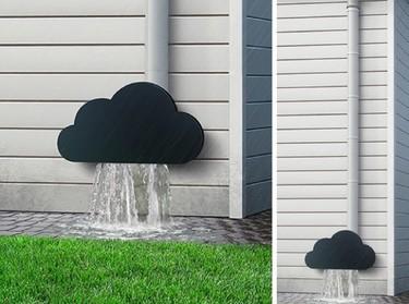 Una buena idea: decorar con una nube el extremo de un canalón