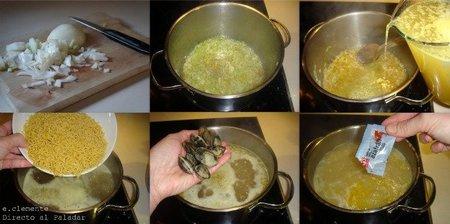 Paso a paso sopa de fideos con almejas