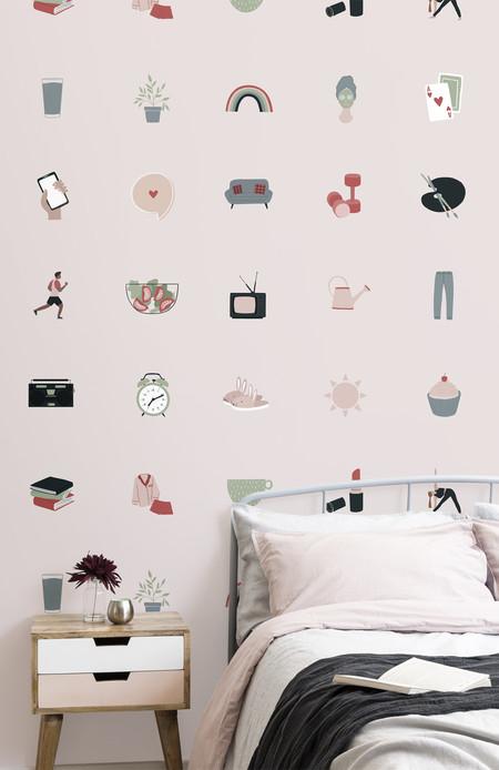 Mural Rosa Con Motivos De Emoticonos De Deporte Y Tiempo Libre Lifestyle2 Web Res
