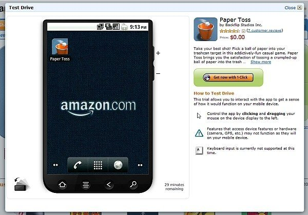 Amazon AppStore Test Drive