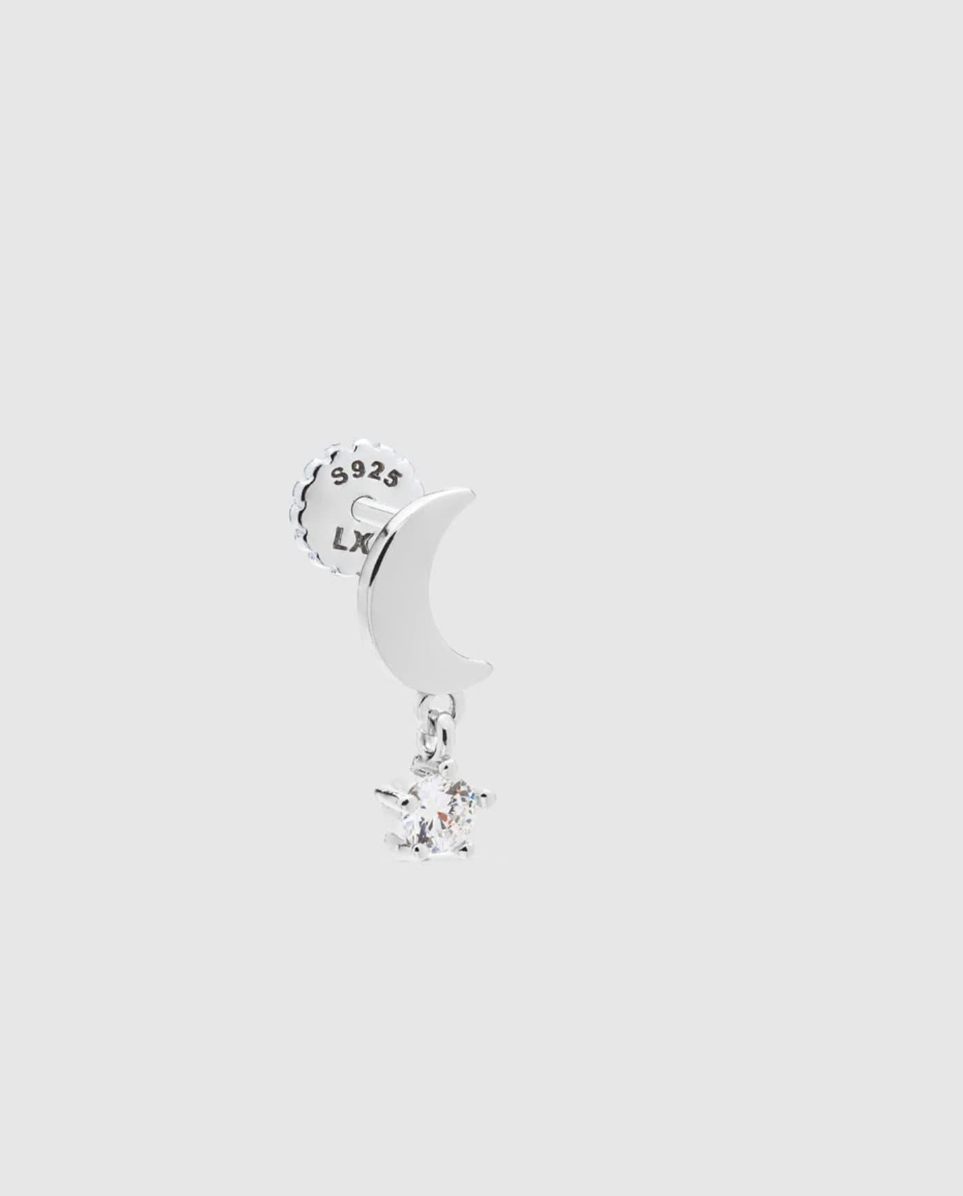 Mini pendiente piercing Luxenter Be Creative de plata y circonita