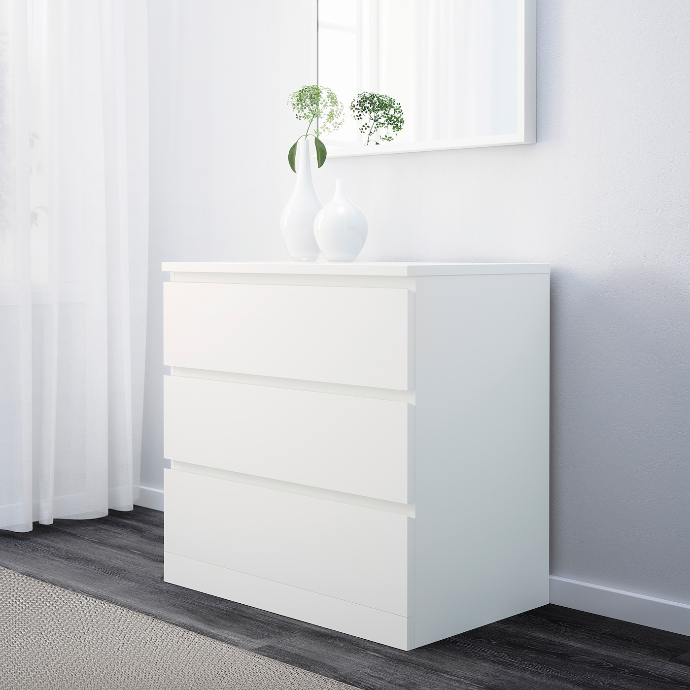Cómoda de 3 cajones, blanco 80x78 cm
