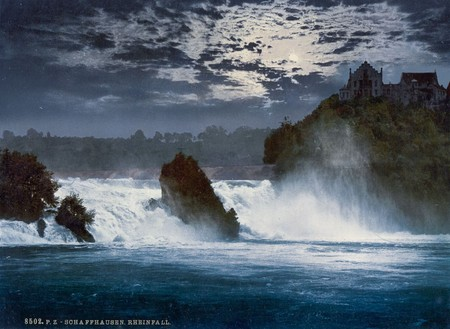 He Falls Of The Rhine By Moonlight Schaffhausen