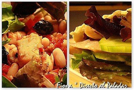 Comida para llevar: ensalada de judías blancas con bacalao, y pita de arenque ahumado y pepino