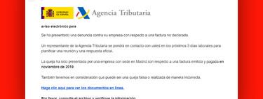 La Agencia Tributaria no envía emails sobre denuncias a tu empresa ni devoluciones de impuestos, es una nueva estafa de phishing