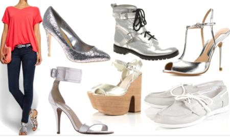 Zapatos plateados tiendas