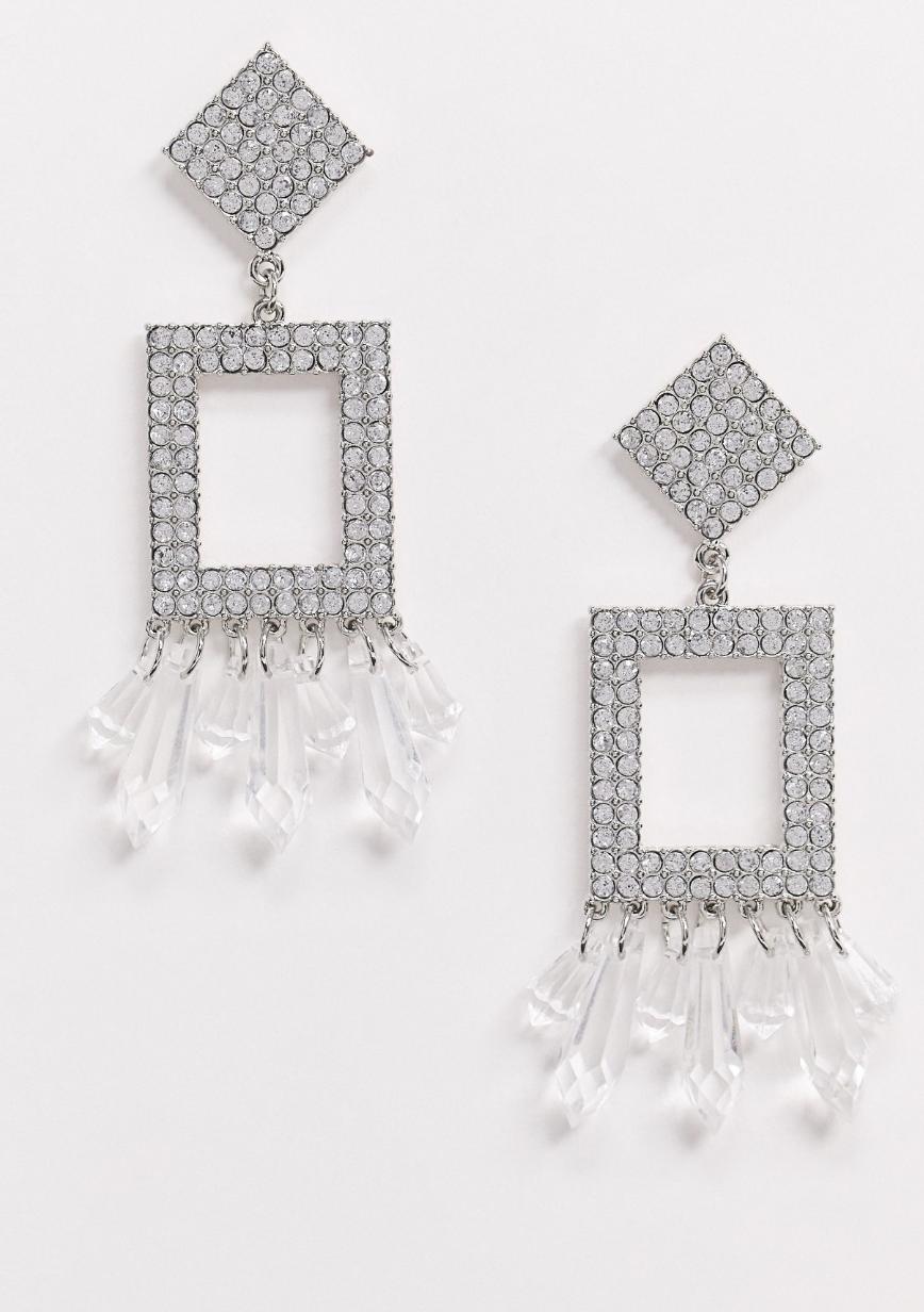 Pendientes con diseño abierto de cristal y colgante de cuenta facetada en plateado de ASOS DESIGN