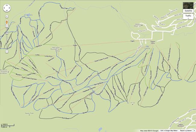 Estaciones de esquí en Google Maps