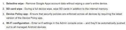 Características Wipe BYOD