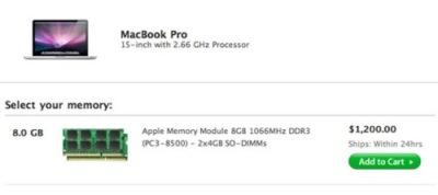 Aparecen ampliaciones a 8 GB de RAM para el MacBook Pro de 15 pulgadas