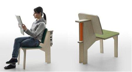 Mesa con taburete para trabajar y silla para relajarse, dos en uno