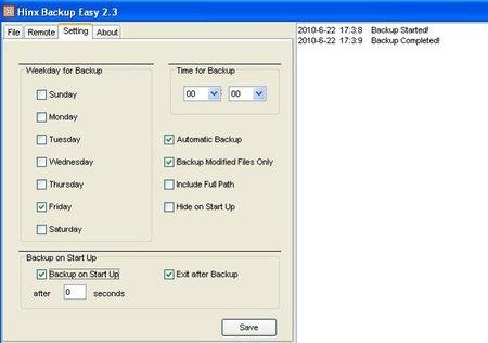 Opciones configuración Hinx Easy Backup