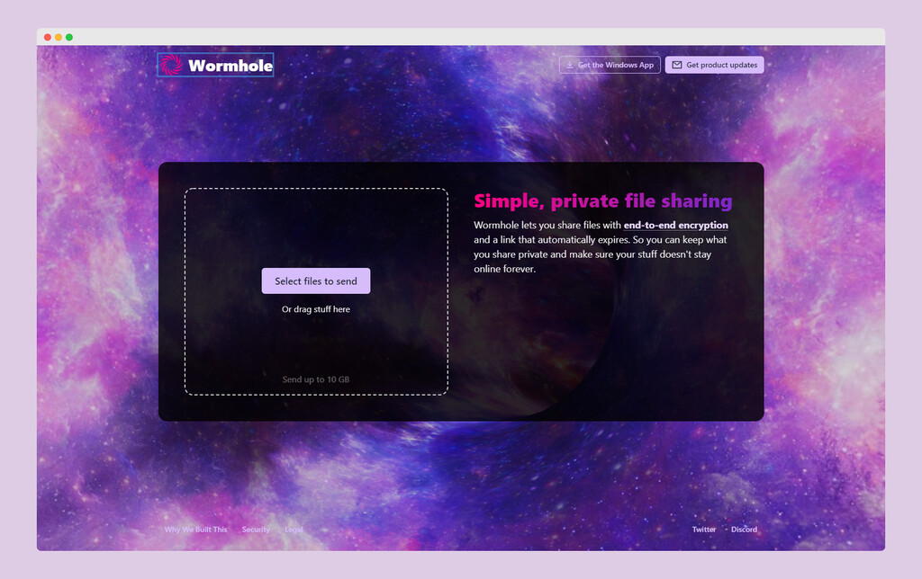 Wormhole es una forma simple, rápida, gratis y privada de compartir archivos grandes