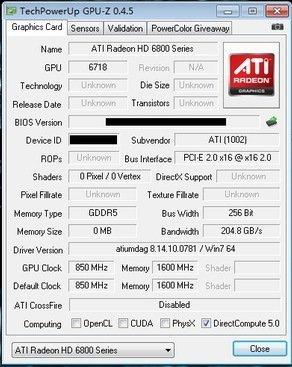 ATi 6870 gpuz