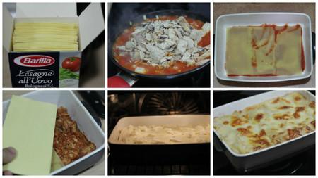 lasagne de atún y tomate paso a paso