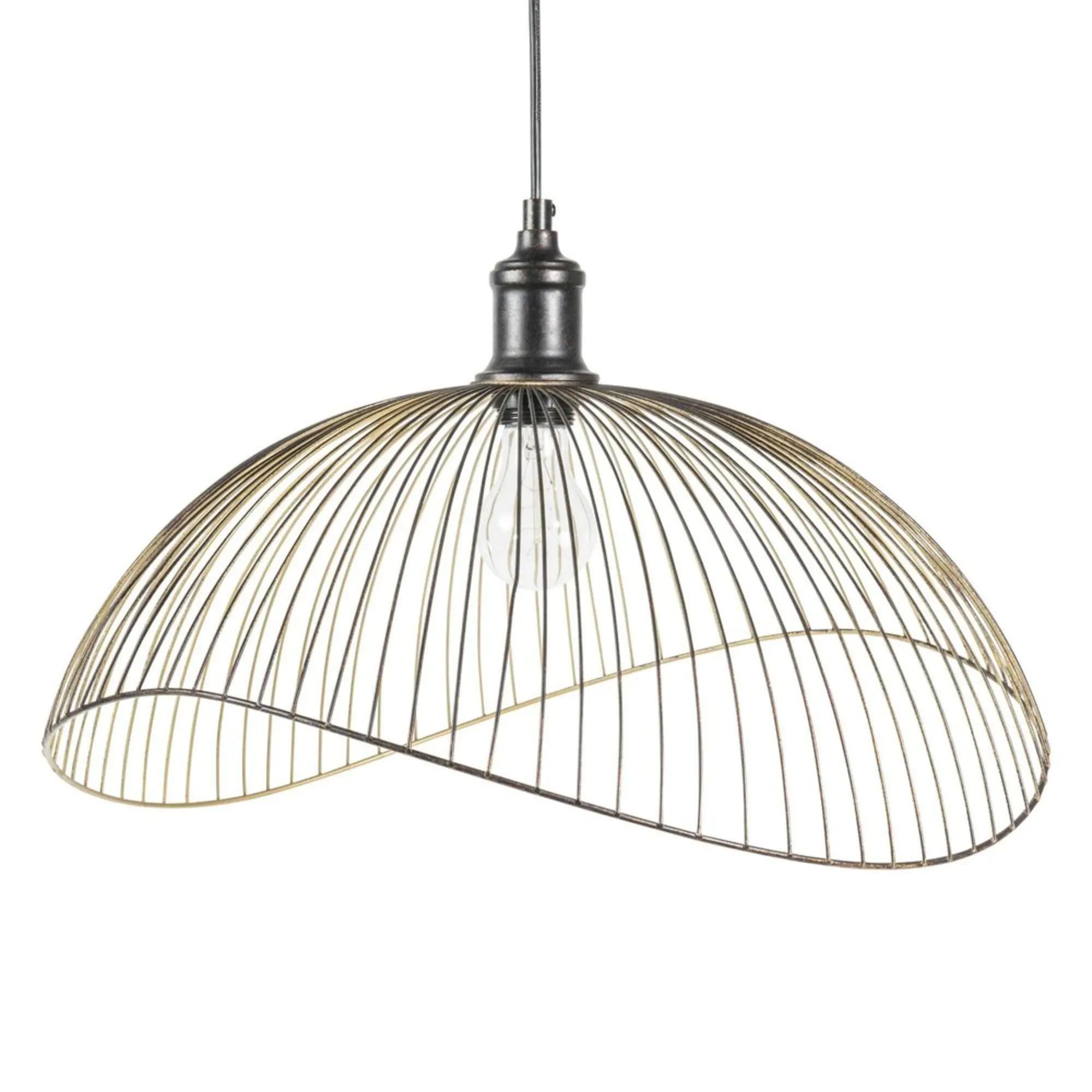 Lámpara de techo de metal negro y dorado