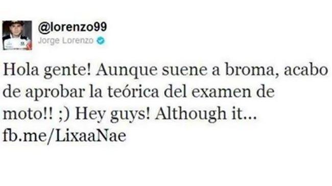Twitter Jorge Lorenzo