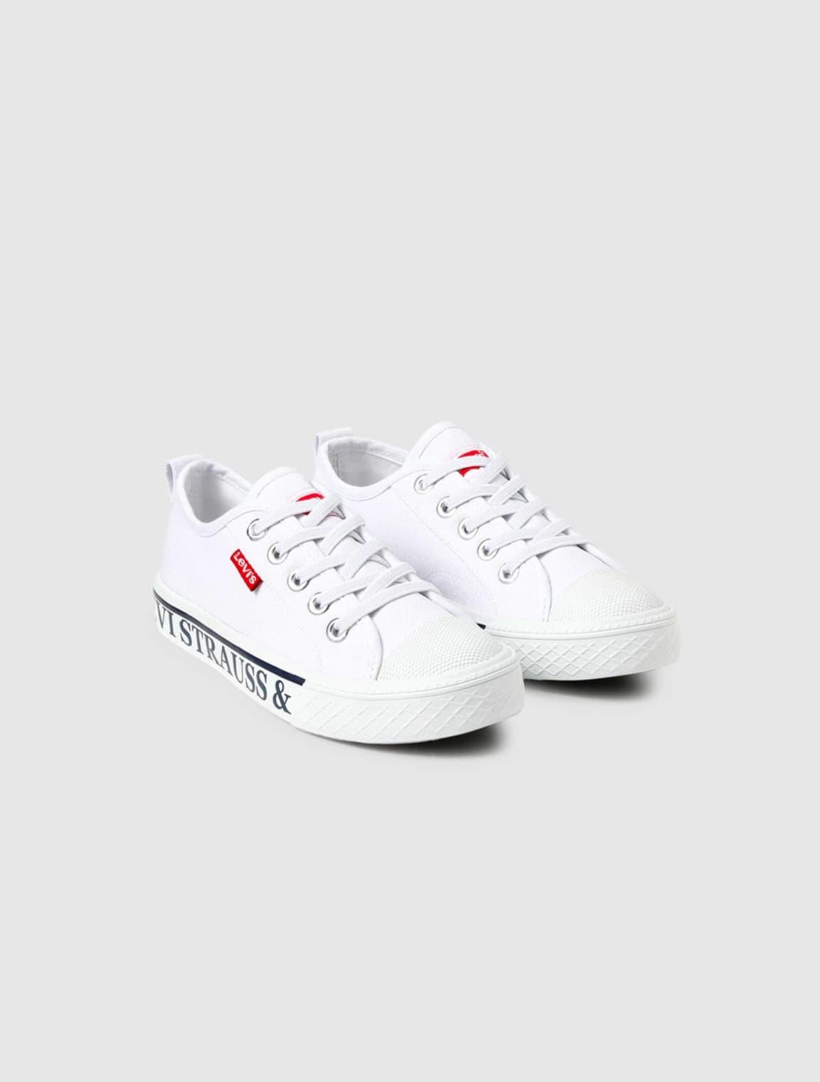 Zapatillas de lona de niño Levi's de color blanco con logotipo de la marca