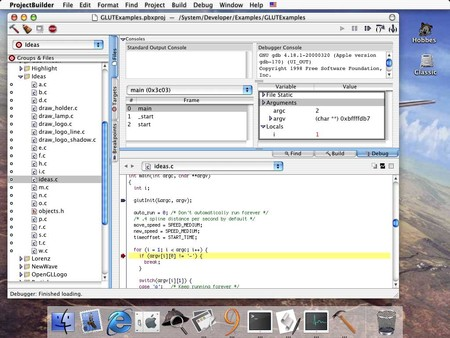 Project Builder en la Developer Preview de OS X Cheetah 10.0