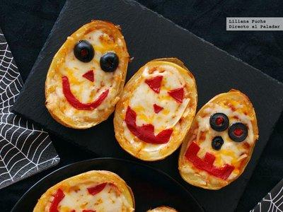 Patatas rellenas monstruosas. Receta de Halloween