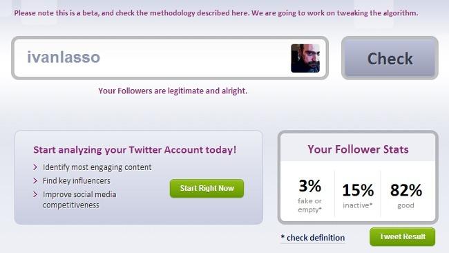 Otra aplicación web para saber cuantos seguidores falsos tienes en Twitter: FakeFollowers