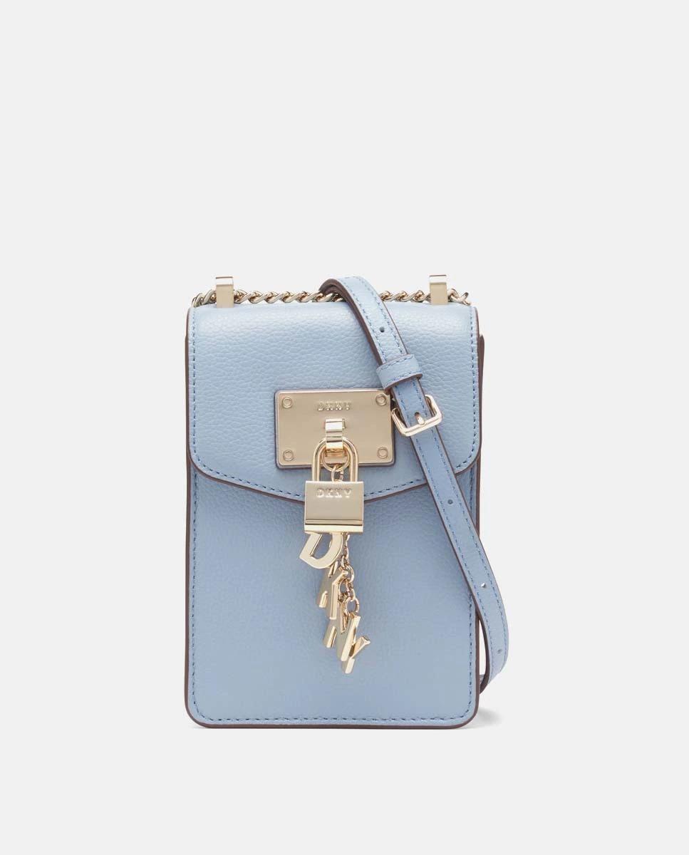 Bolso para móvil DKNY de piel vacuna en azul claro con solapa