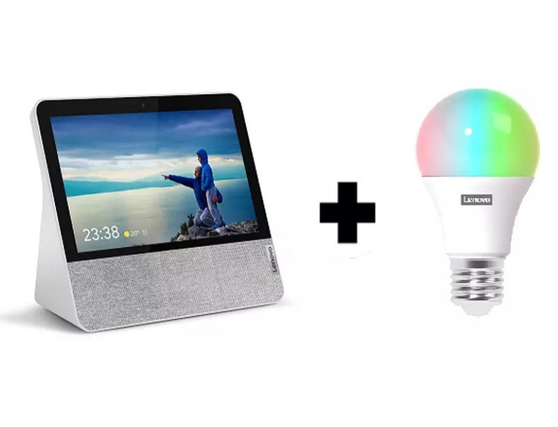 Pantalla inteligente con Asistente de Google - Lenovo Smart Display 7, Bluetooth, WiFi + Lenovo Smart Bulb