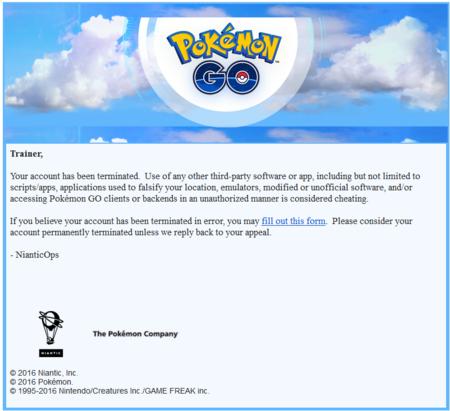 Pokemon Go Bloqueo Baneo