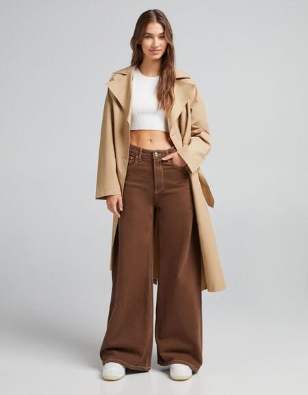 Pantalon Sarga Wide Leg 70 S Contraste