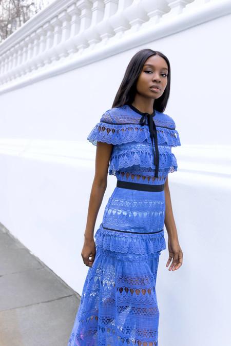 Self Portrait Daphne Guipure Lace Maxi Dress