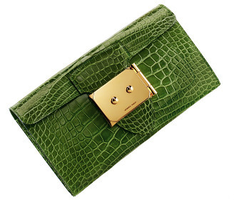 Cartera Hermès en cocodrilo verde y espejo interior