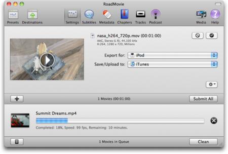 RoadMovie, un excelente conversor de formatos de vídeo y más